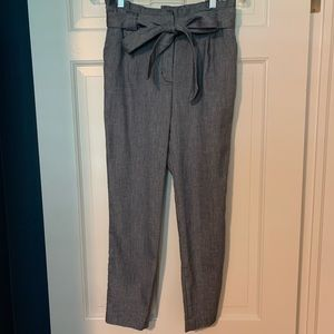 EXPRESS Paperbag Chambray Ankle Pants, 0 Short